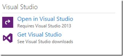 Open in visual studio with visualstudio.com