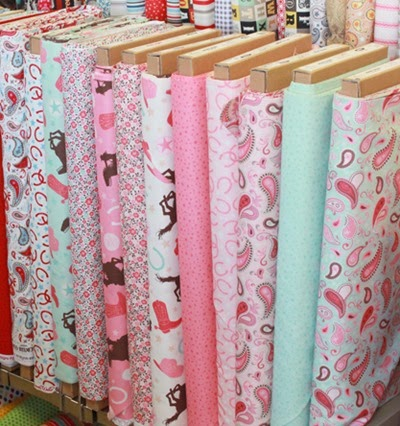 Rodeo Rider fabric pink and mint