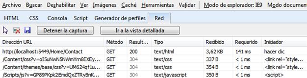 Respuestas HTTP 304 en peticiones