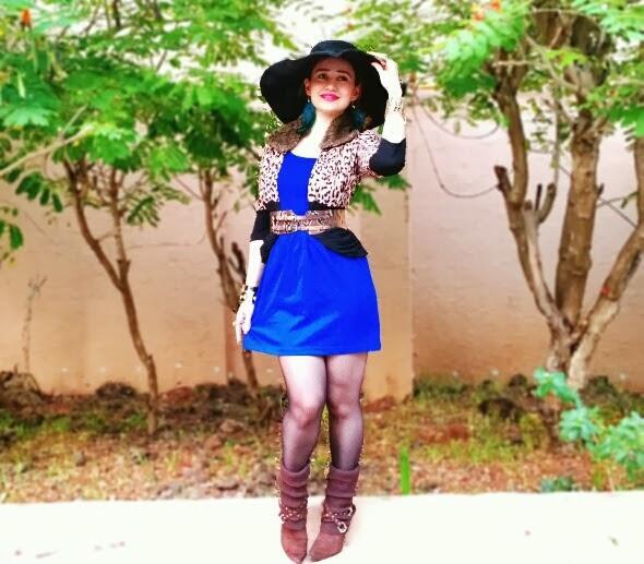 Zara Cobalt Blue Dress & River Island Leopard Jacket