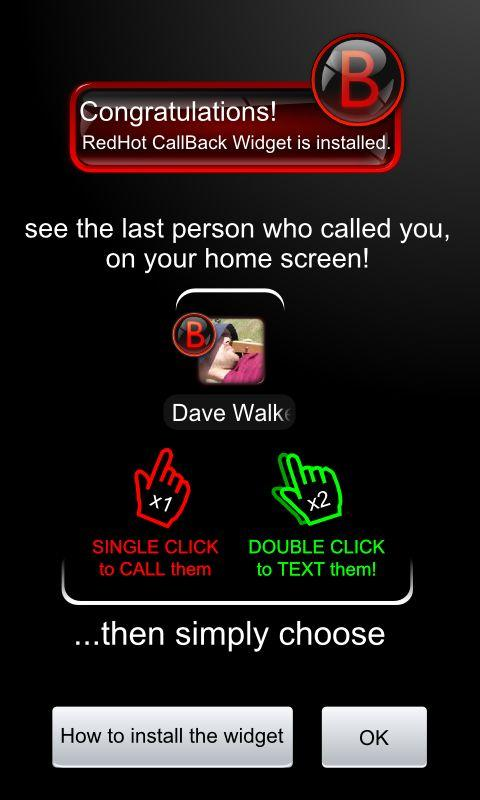RedHot CallBack Widget - screenshot