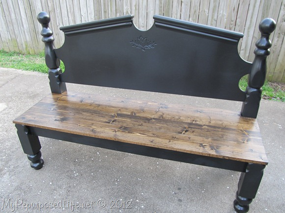 black headboard bench with stained seat #diy #headboard #bench