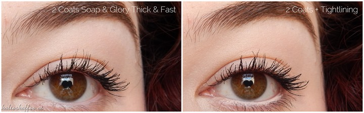 Soap & Glory Thick & Fast Volume Mascara applied