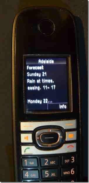 C610 IP handset showing weather forecast
