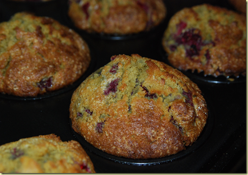 The tray of quinoa raspberry muffins