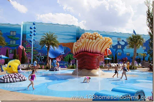 Finding Nemo pool with splash area at Art of Animation in Disney World