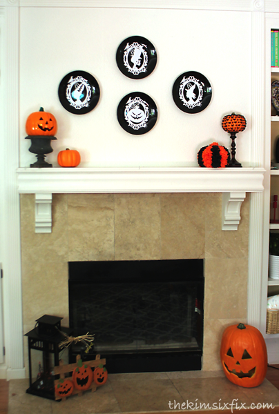 Black orange white halloween mantel