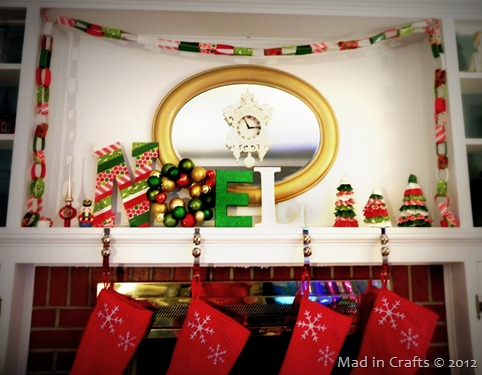 christmas mantel decorated with duck tape
