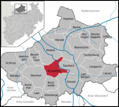Emsdetten, Westphalia, Germany map