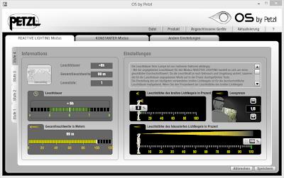 Dialog eigenes Profil definieren im reaktiven Modus von Petzl NAO - Mein Test der Stirnlampe