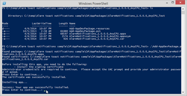 Figure 3 - Installing the App package with PowerShell script