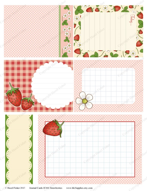 JC001 strawberry printable journal cards etsy 2