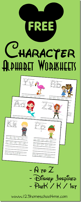 FREE Disney Alphabet Worksheets for Kids! Preschool, Kindergarten, and 1st grade kids are going to have fun practicing their lower and uppercase letters with these free printable alphabet worksheets with Disney characters from A to Z.