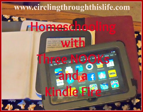 homeschooling with three Nooks and a Kindle