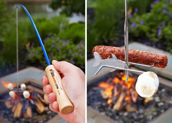 Way to roast marshmallows and sausages