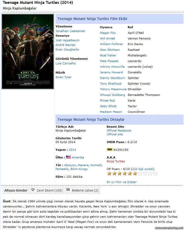 Ninja Kaplumbağalar - 2014 Türkçe Dublaj BDRip indir