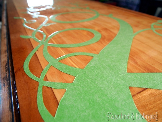 Applying Vinyl to Furniture to use as a Stencil! {Sawdust and Embryos}