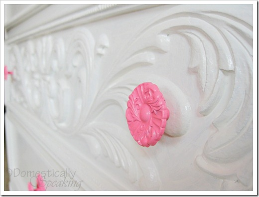 White Dresser with Pink Knobs