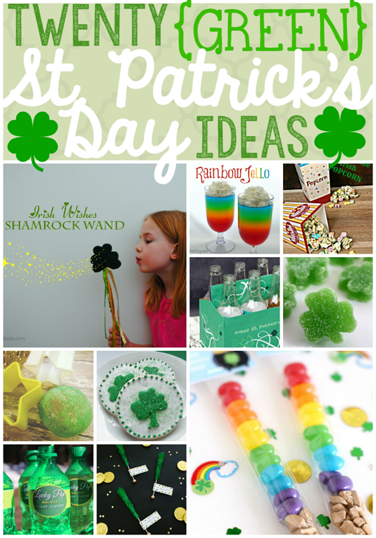 Twenty Green St. Patrick's Day Ideas at GingerSnapCrafts.com #stpattyday #crafts #recipes
