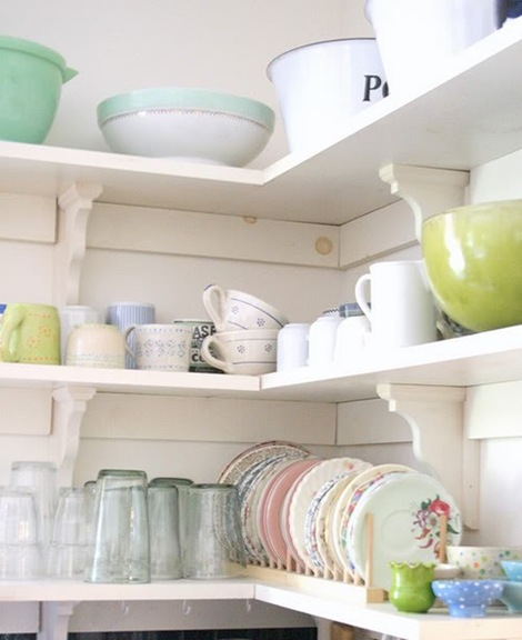 dishes on shelves