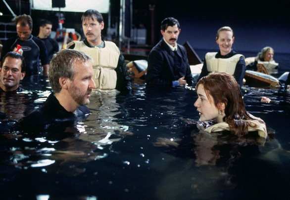 james cameron and kate winslet in TITANIC set
