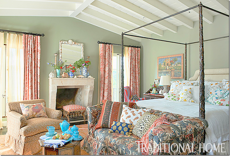 Love the faded blue on the wood beams - Cote De Texas An Update On A Legend