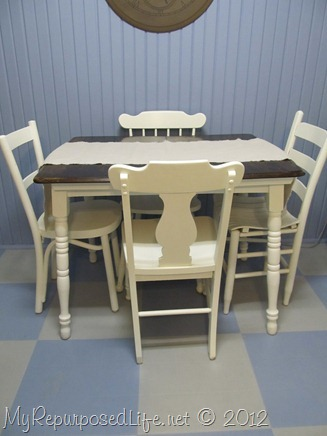 two toned kitchen table