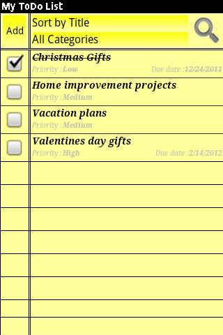 My ToDo List - screenshot