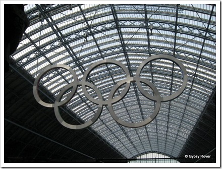 St Pancras station with it's Olympic Rings.