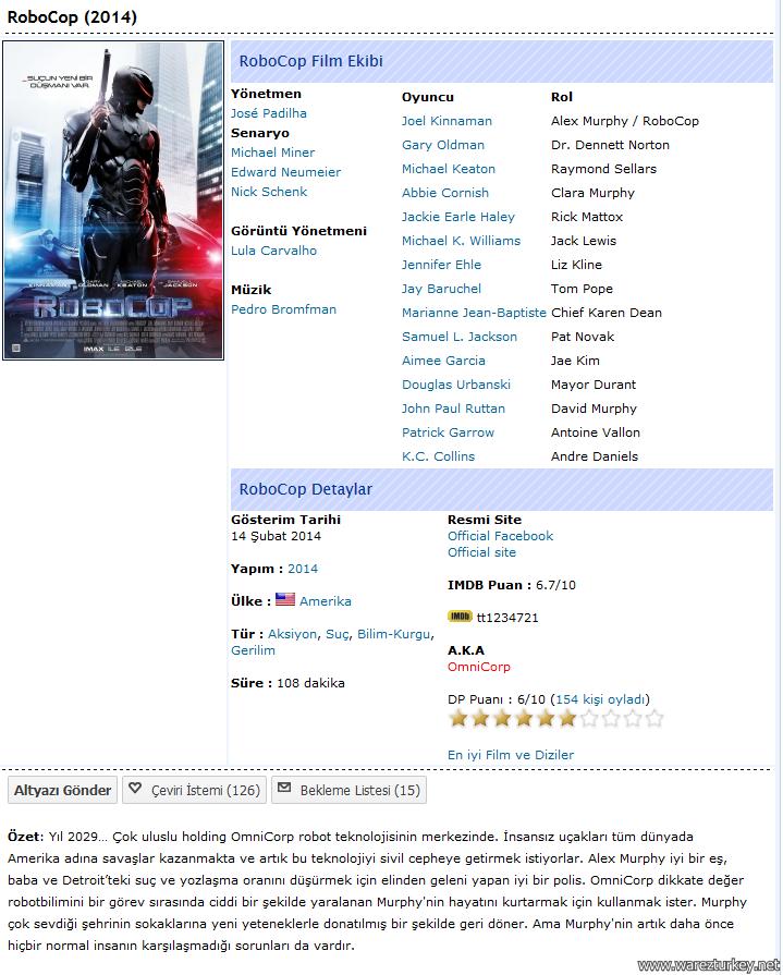 Robocop - 2014 Türkçe Dublaj 480p 720p 1080p BluRay Tek link