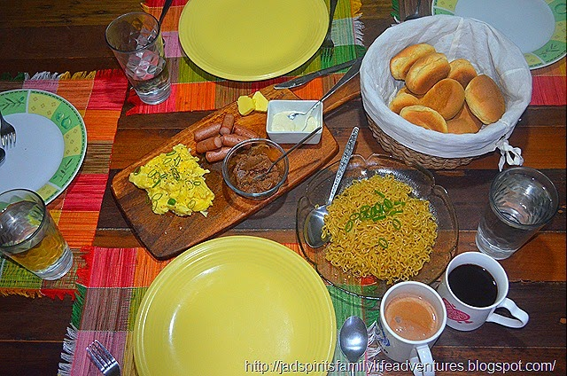 Pancit Canton, Scrambled Egg, Sausage, Pandesal with Liver Spread, Mayonnaise and Butter