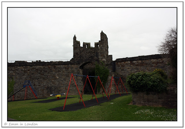 Castle walls and playground Caernarfon