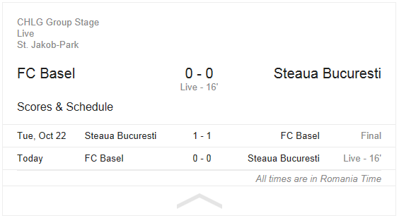 Google football OneBox live score FC Basel Steaua min 16