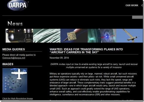 よん?: DARPA(アメリカ国防高等研究計画局)が、無人機の母機のアイデア ...