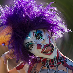 Clown askew by Rick Sherwin - People Body Art/Tattoos ( askew, purple hair, colorful, clown, spin, person, people, tattoo )