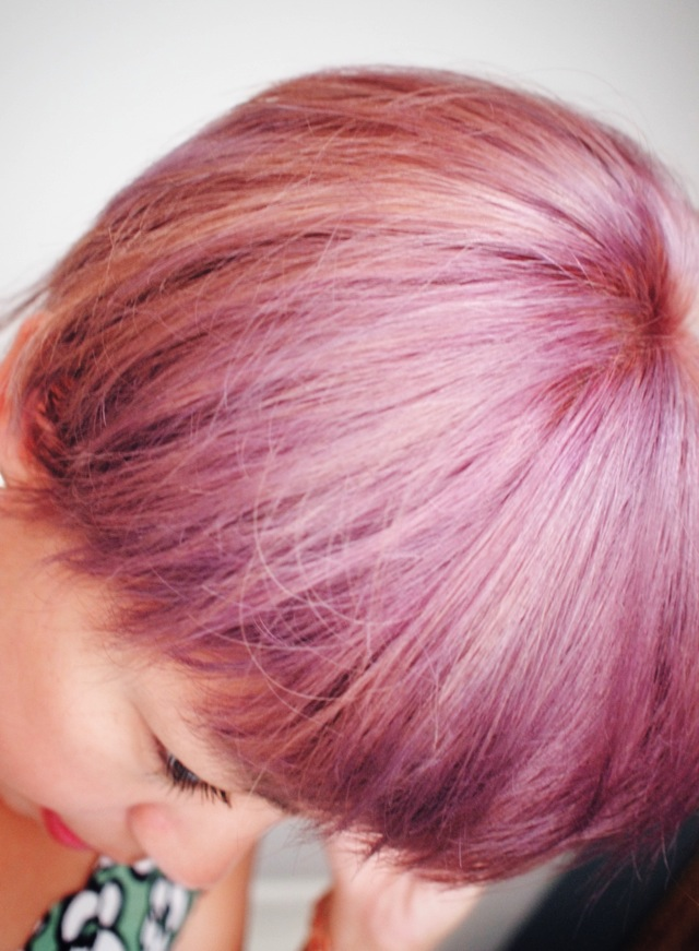 purple hair closeup