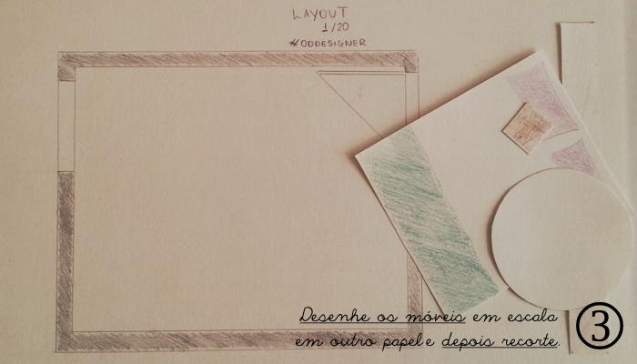 desenhe os móveis e recorte