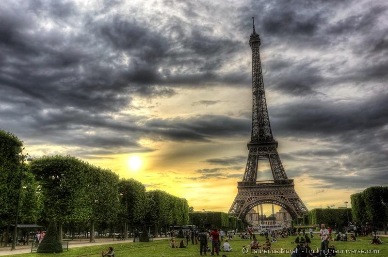 Eiffel tower sunset paris hdr