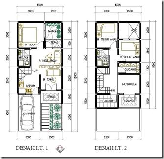 Contoh Denah Rumah Lebar 5 Meter Desain Rumah