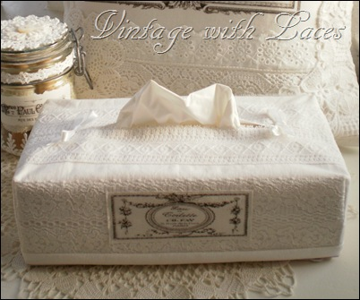 Tissue Box Cover by Vintage with Laces