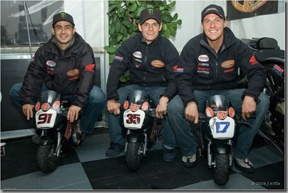 Leon Haslam, Cal Crutchlow & Steve Brogan on their BikeWise MIni Bike Club Bikes