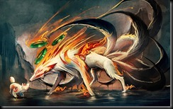 nine_tailed_fox_and_pup_by_sakimichan-d4r47s5