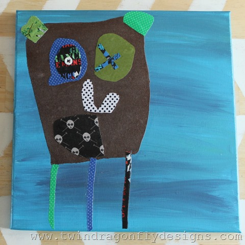 Fabric Piecing Art from a childs drawing after