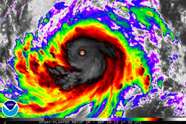 Infrared satellite view of super typhoon Usagi, 19 September 2013. Photo: NOAA