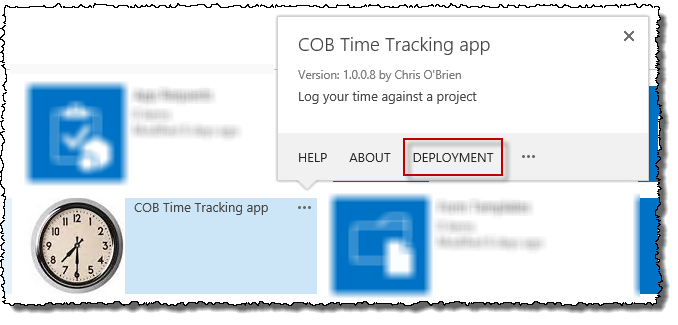 Deployment action in App Catalog