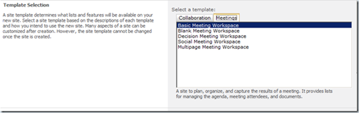 sharepoint 2013 meeting workspace template - ciaops less site options in foundation 2013