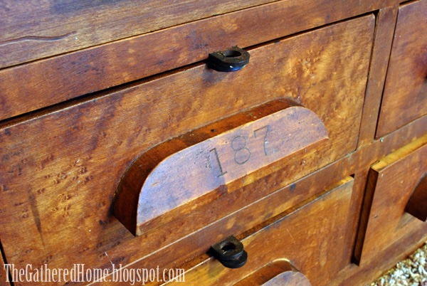 antique hardware store cabinets closeup birdseye maple - Found: Vintage Hardware Store Cabinets - The Gathered Home