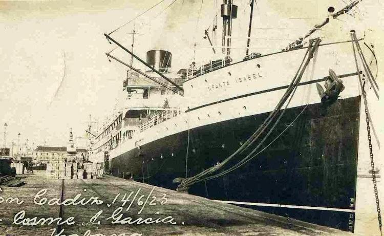 Postal del INFANTA ISABEL en el puerto de Cádiz. Fechada en Junio de 1.923.jpg