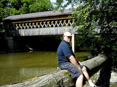 Jim at the State Road covered bridge