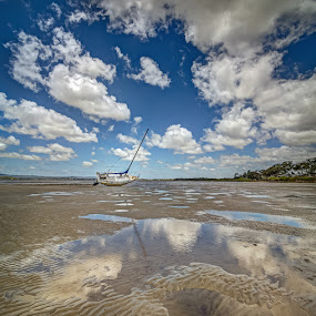 Low tide at Tin Can by Daryl James - Transportation Boats ( http://daryljamesphotography.com/ ccg hdr maryb, ccg hdr maryborough panorama, daryl james )